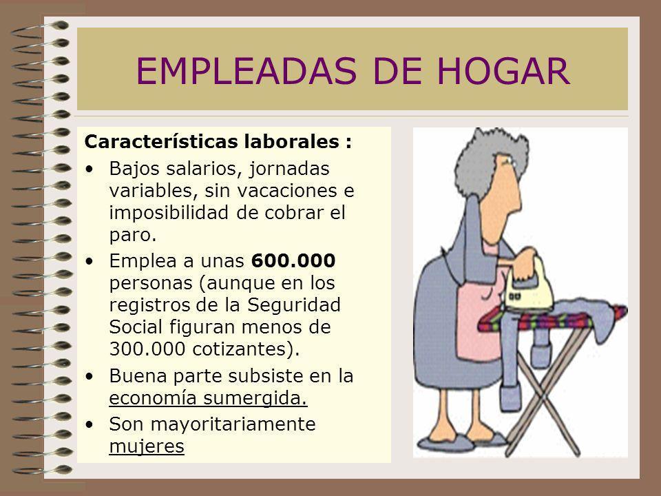 EMPLEADAS DE HOGAR Características laborales : Bajos salarios, jornadas variables, sin vacaciones e imposibilidad de cobrar el paro. Emplea a unas 600