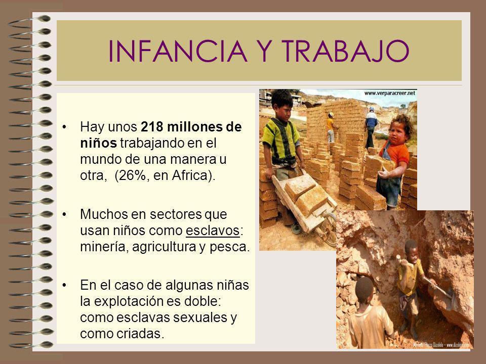 INFANCIA Y TRABAJO Hay unos 218 millones de niños trabajando en el mundo de una manera u otra, (26%, en Africa). Muchos en sectores que usan niños com