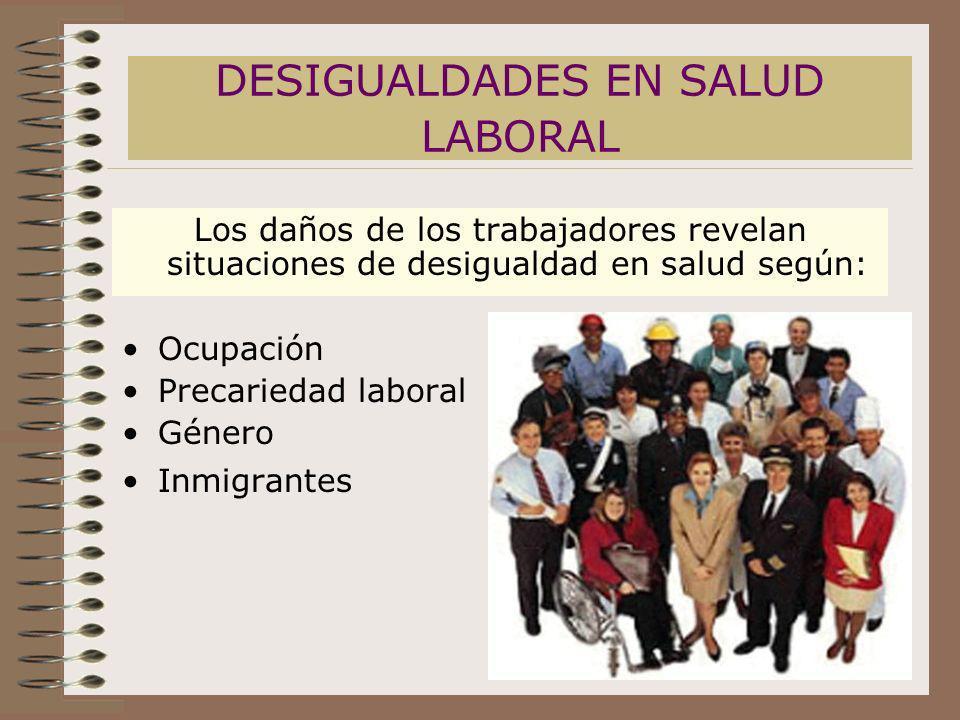 DESIGUALDADES EN SALUD LABORAL Los daños de los trabajadores revelan situaciones de desigualdad en salud según: Ocupación Precariedad laboral Género I
