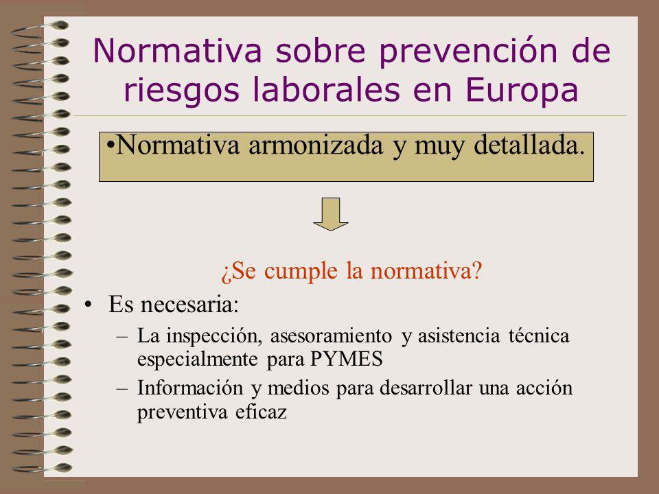 Normativa sobre prevención de riesgos laborales en Europa ¿Se cumple la normativa? Es necesaria: –La inspección, asesoramiento y asistencia técnica es