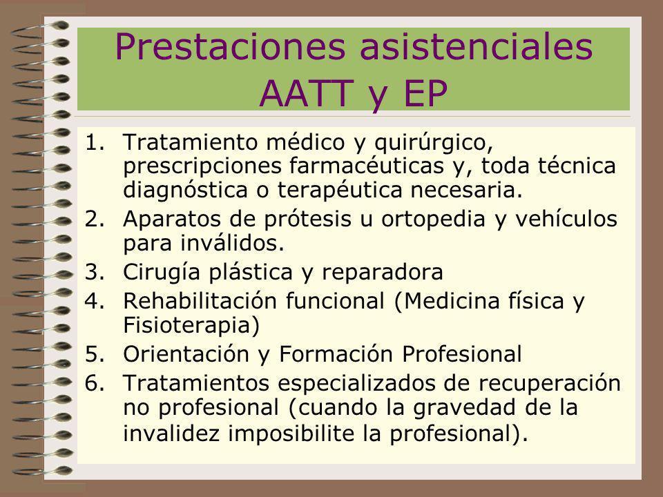 Prestaciones asistenciales AATT y EP 1.Tratamiento médico y quirúrgico, prescripciones farmacéuticas y, toda técnica diagnóstica o terapéutica necesar