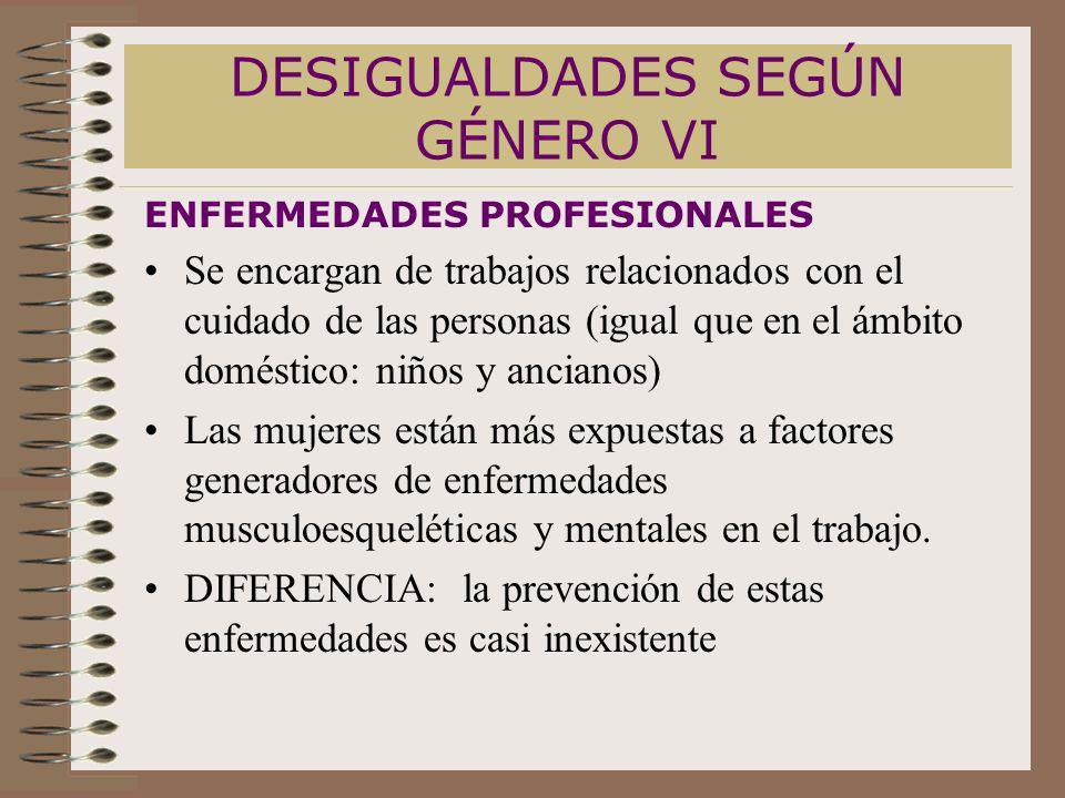 DESIGUALDADES SEGÚN GÉNERO VI ENFERMEDADES PROFESIONALES Se encargan de trabajos relacionados con el cuidado de las personas (igual que en el ámbito d
