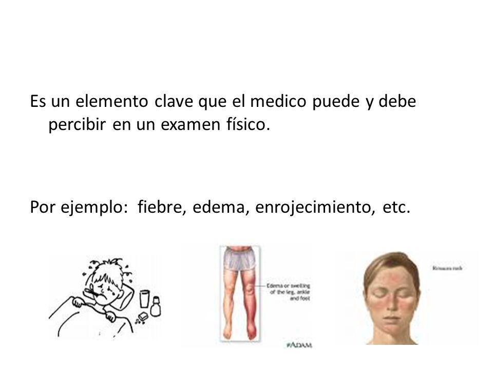 Es un elemento clave que el medico puede y debe percibir en un examen físico. Por ejemplo: fiebre, edema, enrojecimiento, etc.