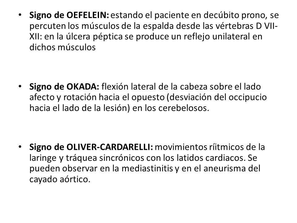 Signo de OEFELEIN: estando el paciente en decúbito prono, se percuten los músculos de la espalda desde las vértebras D VII- XII: en la úlcera péptica