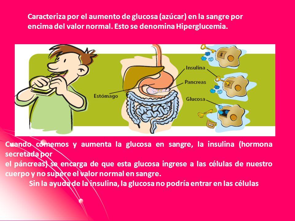 Caracteriza por el aumento de glucosa (azúcar) en la sangre por encima del valor normal. Esto se denomina Hiperglucemia.. Cuando comemos y aumenta la