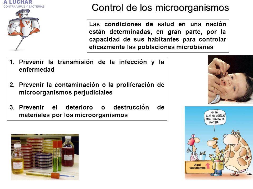Control de los microorganismos Las condiciones de salud en una nación están determinadas, en gran parte, por la capacidad de sus habitantes para contr