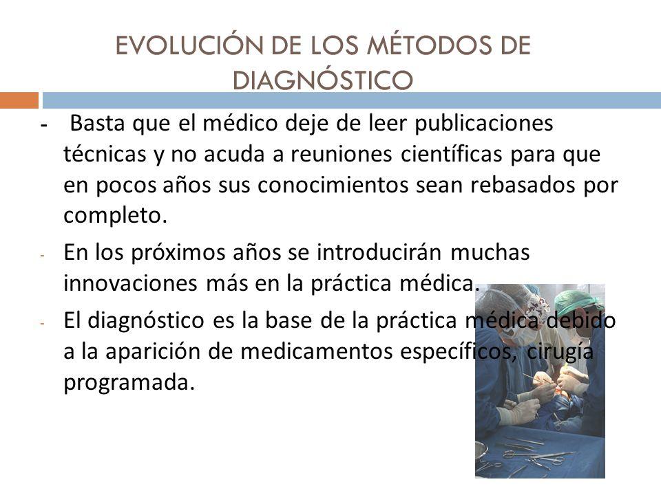 EVOLUCIÓN DE LOS MÉTODOS DE DIAGNÓSTICO - Basta que el médico deje de leer publicaciones técnicas y no acuda a reuniones científicas para que en pocos