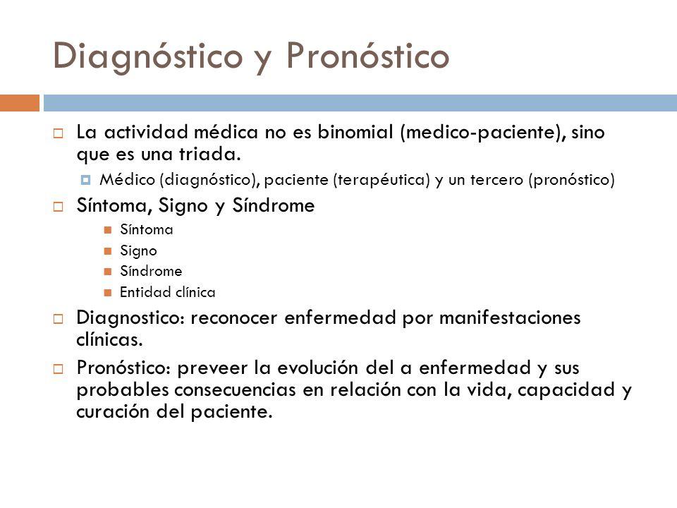 Diagnóstico y Pronóstico La actividad médica no es binomial (medico-paciente), sino que es una triada. Médico (diagnóstico), paciente (terapéutica) y