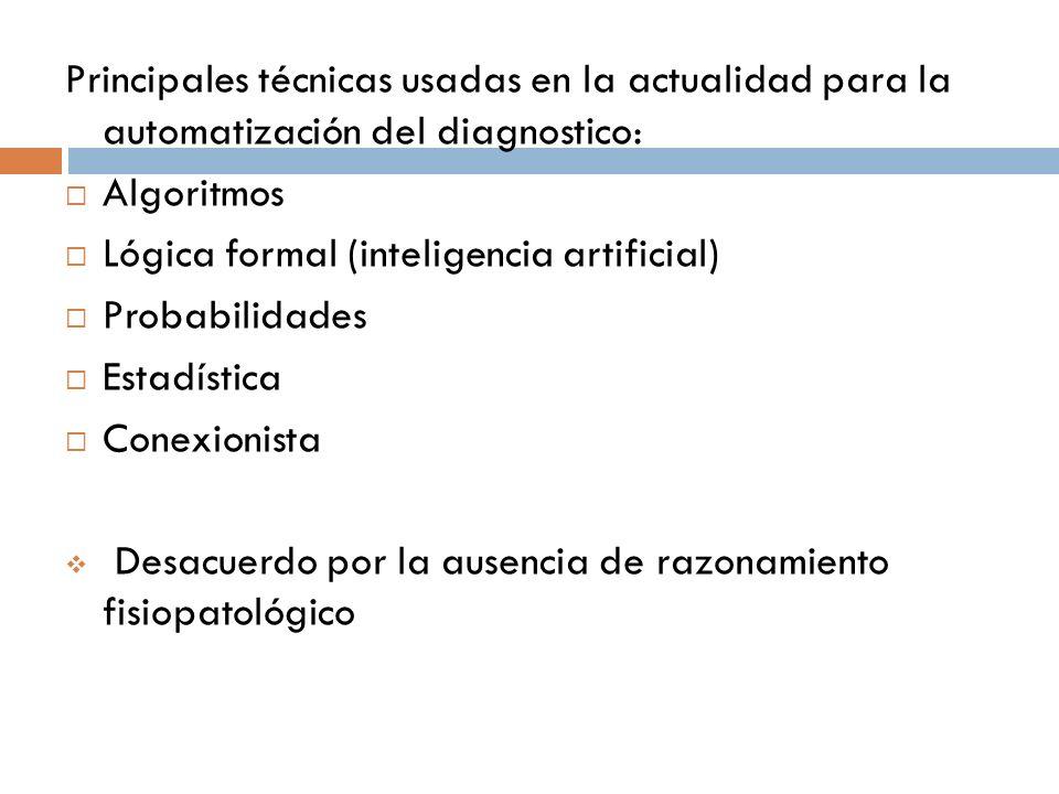 Principales técnicas usadas en la actualidad para la automatización del diagnostico: Algoritmos Lógica formal (inteligencia artificial) Probabilidades