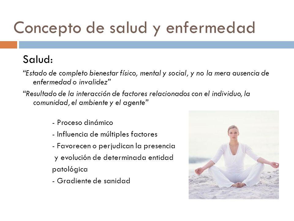 Concepto de salud y enfermedad Salud: Estado de completo bienestar físico, mental y social, y no la mera ausencia de enfermedad o invalidez Resultado