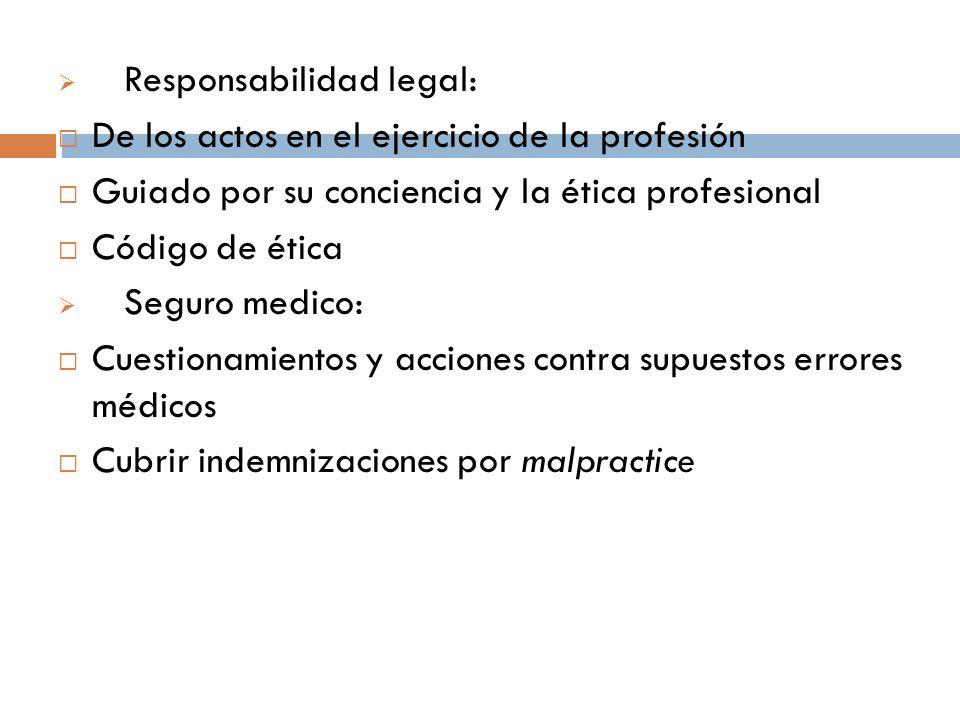 Responsabilidad legal: De los actos en el ejercicio de la profesión Guiado por su conciencia y la ética profesional Código de ética Seguro medico: Cue