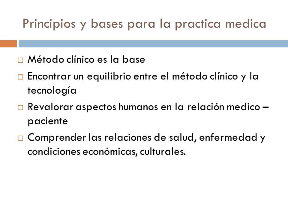 Principios y bases para la practica medica Método clínico es la base Encontrar un equilibrio entre el método clínico y la tecnología Revalorar aspecto