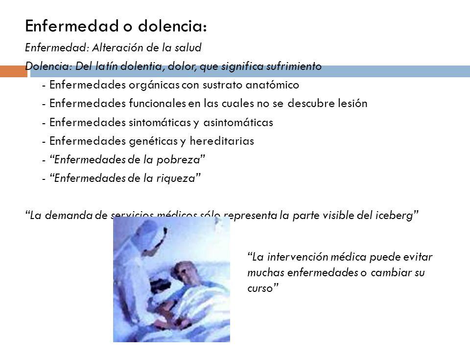 Enfermedad o dolencia: Enfermedad: Alteración de la salud Dolencia: Del latín dolentia, dolor, que significa sufrimiento - Enfermedades orgánicas con