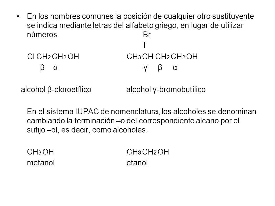 En los nombres comunes la posición de cualquier otro sustituyente se indica mediante letras del alfabeto griego, en lugar de utilizar números.