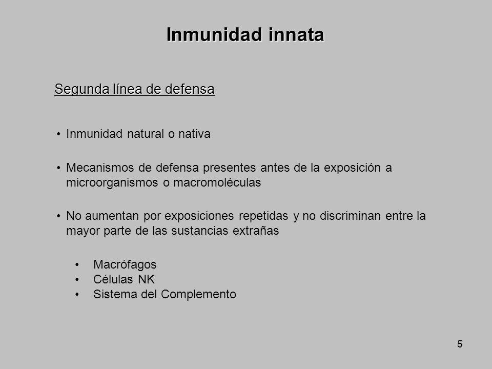 5 Inmunidad innata Inmunidad natural o nativa Mecanismos de defensa presentes antes de la exposición a microorganismos o macromoléculas No aumentan po