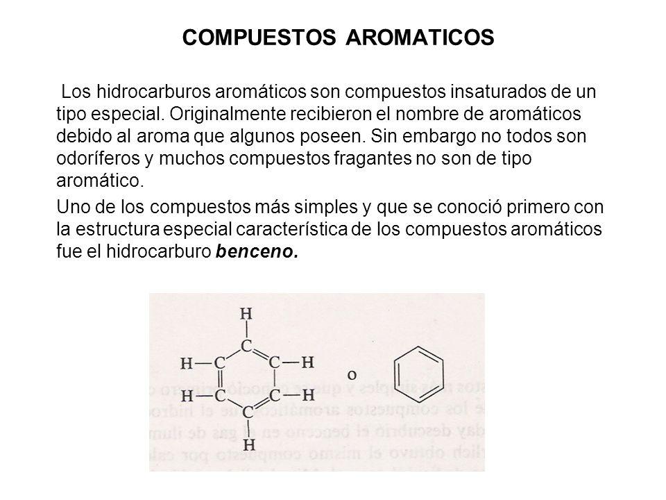 COMPUESTOS AROMATICOS Los hidrocarburos aromáticos son compuestos insaturados de un tipo especial. Originalmente recibieron el nombre de aromáticos de