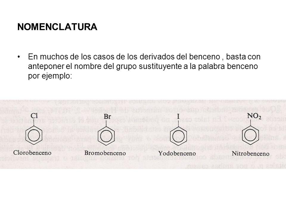 NOMENCLATURA En muchos de los casos de los derivados del benceno, basta con anteponer el nombre del grupo sustituyente a la palabra benceno por ejempl