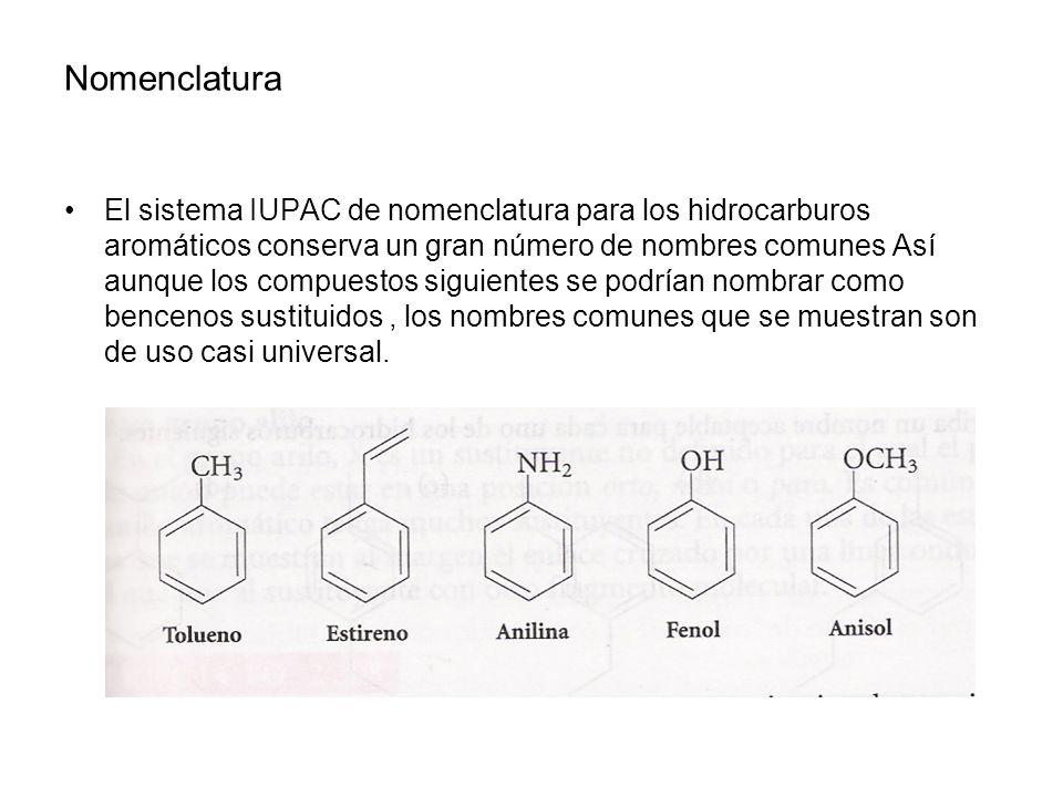 Nomenclatura El sistema IUPAC de nomenclatura para los hidrocarburos aromáticos conserva un gran número de nombres comunes Así aunque los compuestos s