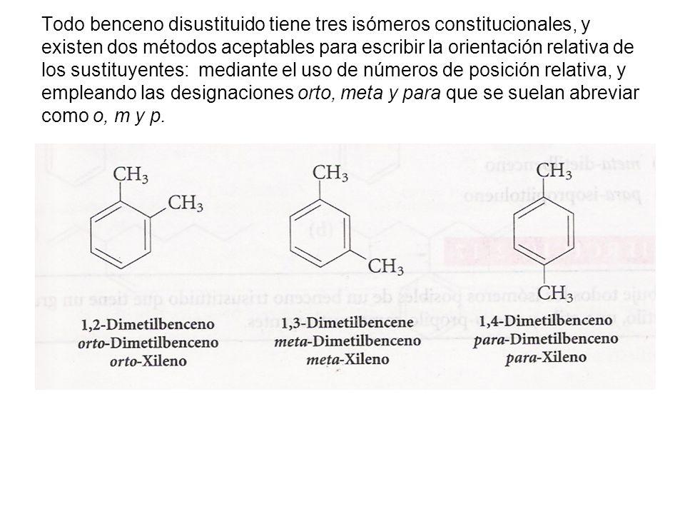 Si los dos grupos son diferentes y ninguno de ellos confiere un grupo especial a la molécula se nombran sucesivamente y se termina con la palabra benceno.