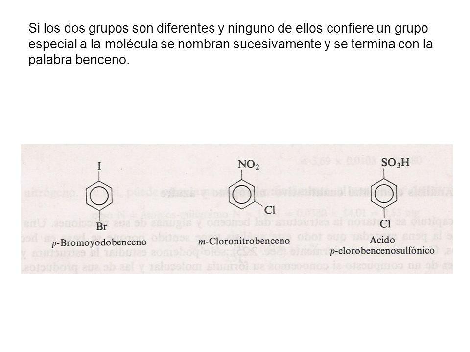 Si los dos grupos son diferentes y ninguno de ellos confiere un grupo especial a la molécula se nombran sucesivamente y se termina con la palabra benc