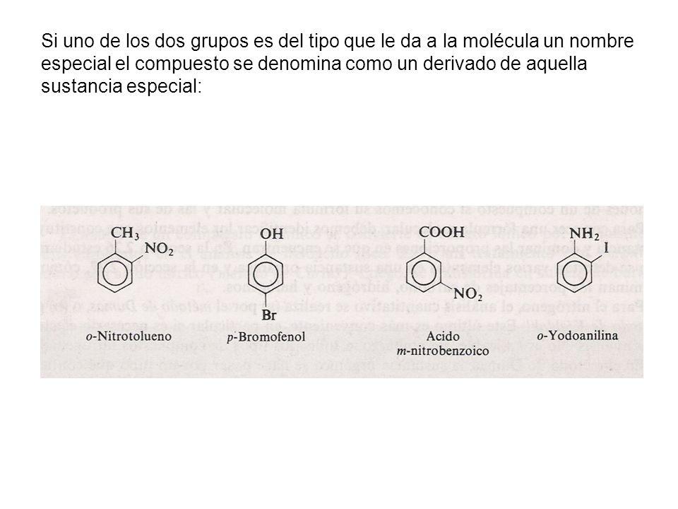 Si uno de los dos grupos es del tipo que le da a la molécula un nombre especial el compuesto se denomina como un derivado de aquella sustancia especia