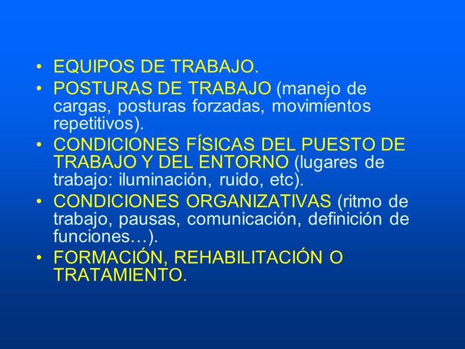 EQUIPOS DE TRABAJO. POSTURAS DE TRABAJO (manejo de cargas, posturas forzadas, movimientos repetitivos). CONDICIONES FÍSICAS DEL PUESTO DE TRABAJO Y DE