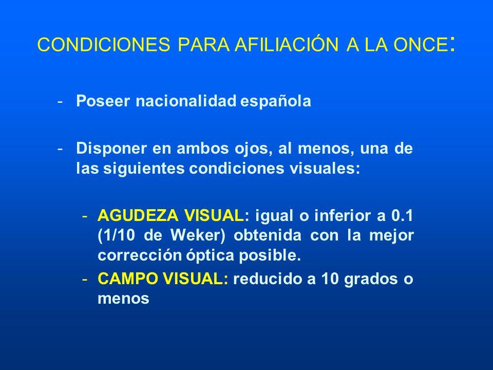 CONDICIONES PARA AFILIACIÓN A LA ONCE : -Poseer nacionalidad española -Disponer en ambos ojos, al menos, una de las siguientes condiciones visuales: -