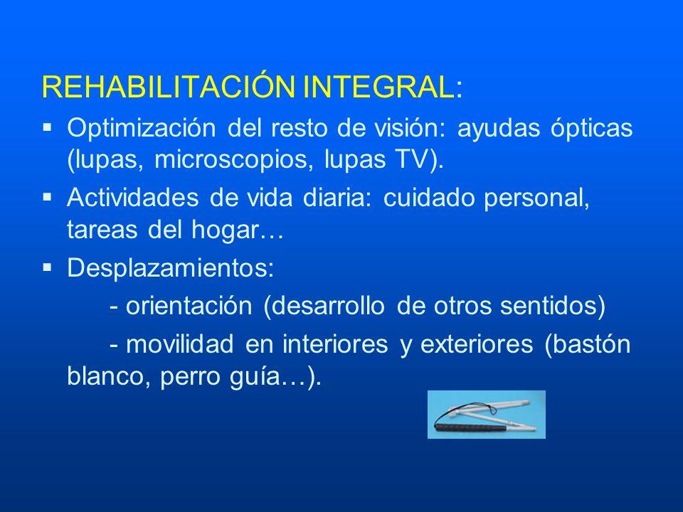 REHABILITACIÓN INTEGRAL: Optimización del resto de visión: ayudas ópticas (lupas, microscopios, lupas TV). Actividades de vida diaria: cuidado persona