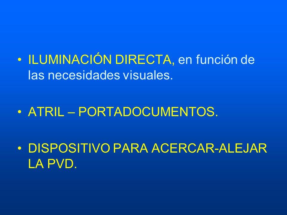 ILUMINACIÓN DIRECTA, en función de las necesidades visuales. ATRIL – PORTADOCUMENTOS. DISPOSITIVO PARA ACERCAR-ALEJAR LA PVD.