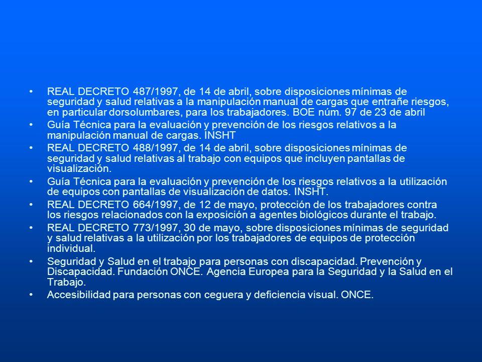 REAL DECRETO 487/1997, de 14 de abril, sobre disposiciones mínimas de seguridad y salud relativas a la manipulación manual de cargas que entrañe riesg
