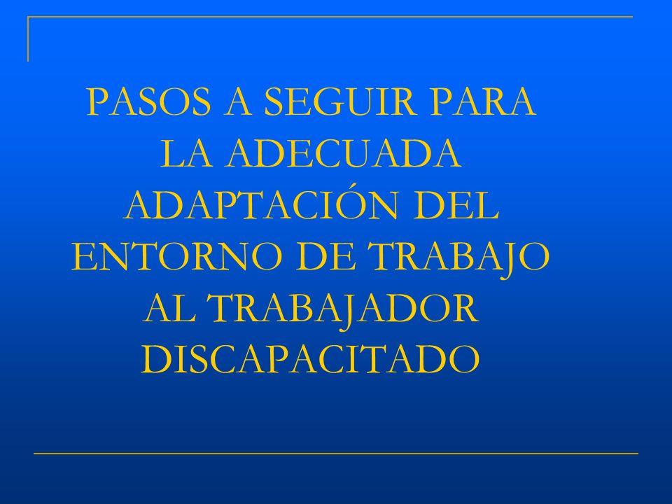 PASOS A SEGUIR PARA LA ADECUADA ADAPTACIÓN DEL ENTORNO DE TRABAJO AL TRABAJADOR DISCAPACITADO