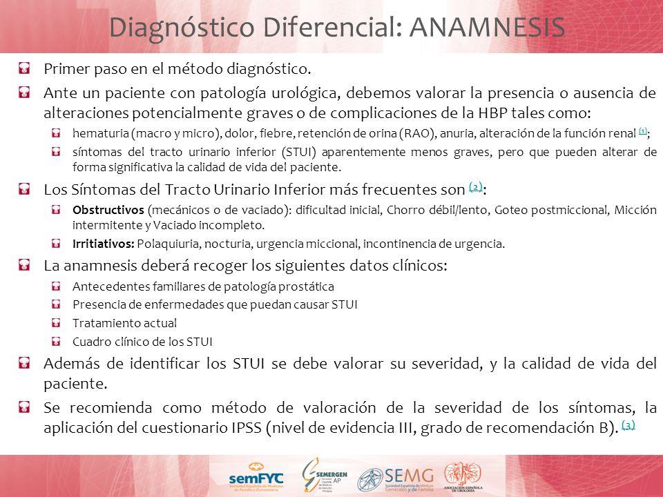 Diagnóstico Diferencial: ANAMNESIS Primer paso en el método diagnóstico. Ante un paciente con patología urológica, debemos valorar la presencia o ause