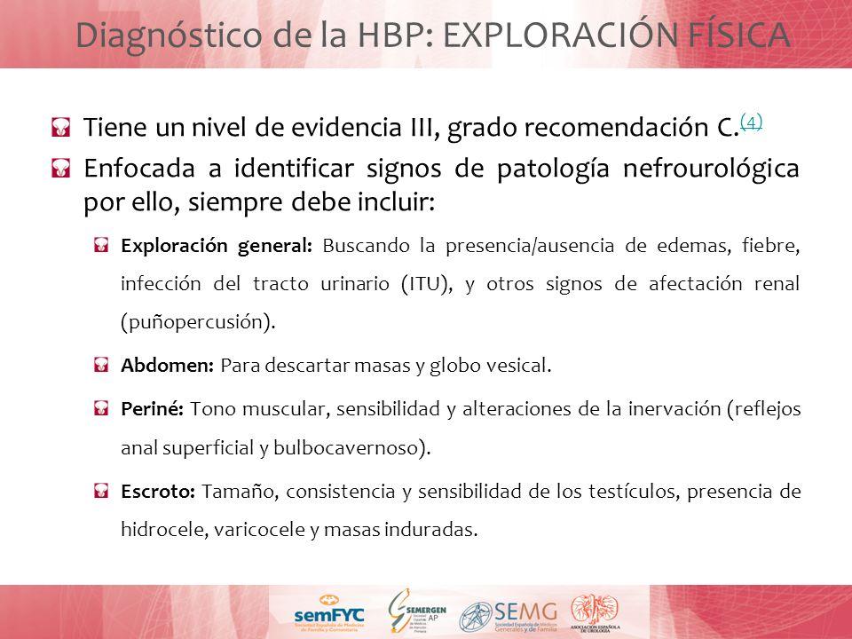 Diagnóstico de la HBP: EXPLORACIÓN FÍSICA Tiene un nivel de evidencia III, grado recomendación C. (4) (4) Enfocada a identificar signos de patología n