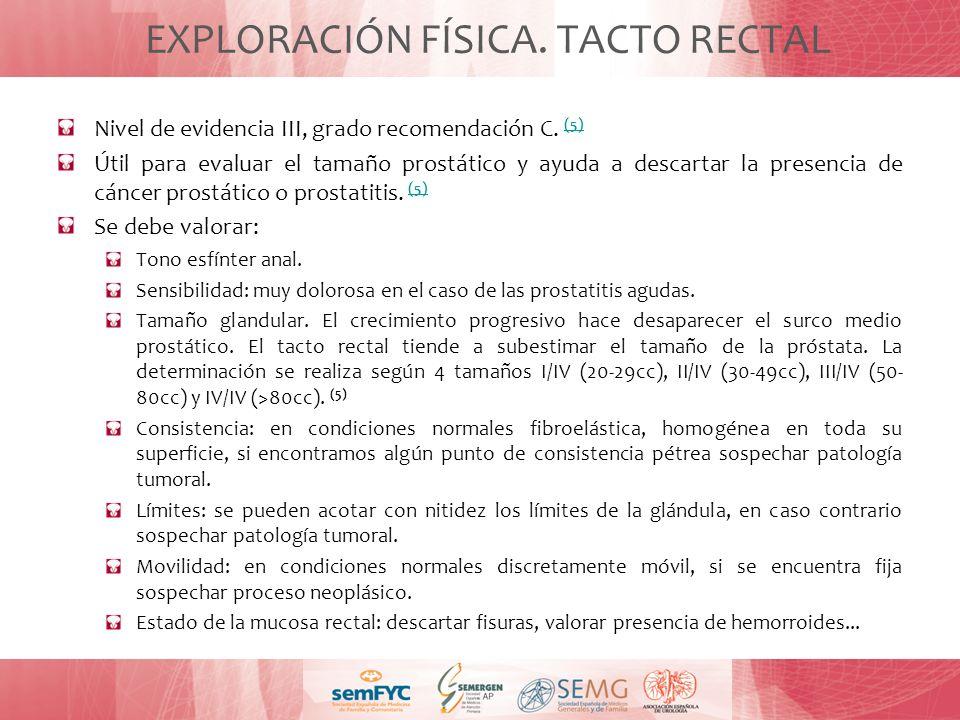 EXPLORACIÓN FÍSICA. TACTO RECTAL Nivel de evidencia III, grado recomendación C. (5) (5) Útil para evaluar el tamaño prostático y ayuda a descartar la