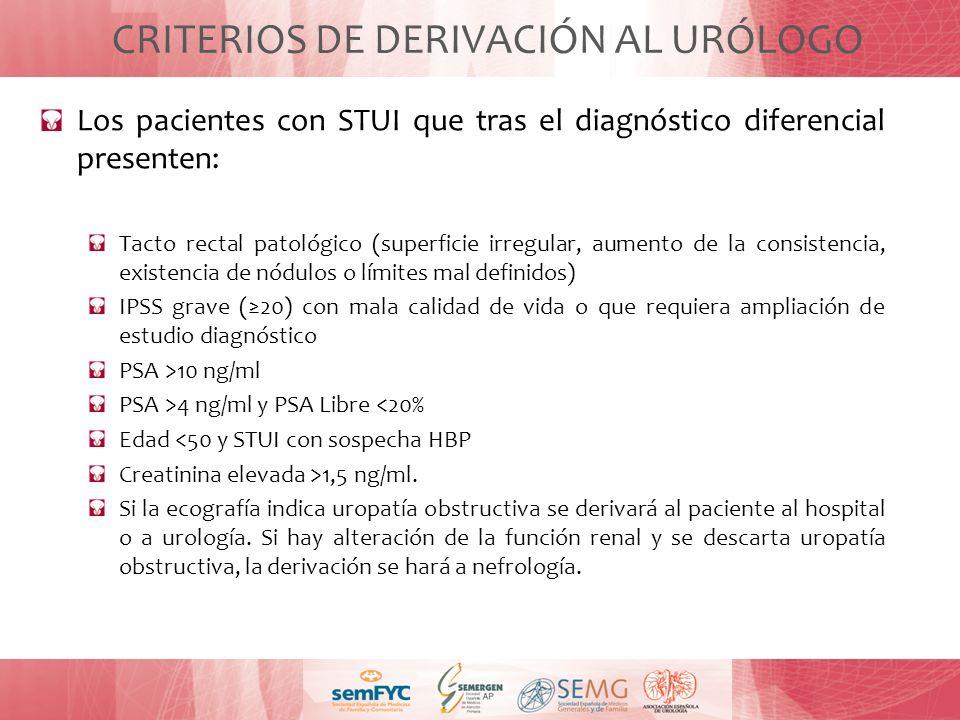 CRITERIOS DE DERIVACIÓN AL URÓLOGO Los pacientes con STUI que tras el diagnóstico diferencial presenten: Tacto rectal patológico (superficie irregular
