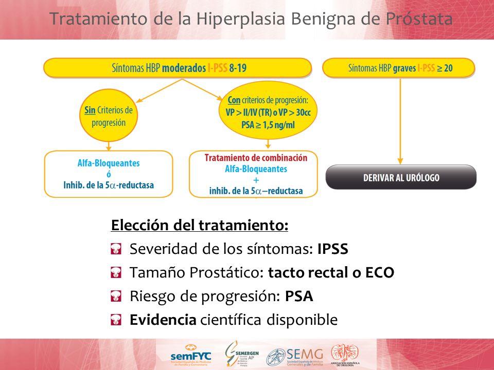Tratamiento de la Hiperplasia Benigna de Próstata Elección del tratamiento: Severidad de los síntomas: IPSS Tamaño Prostático: tacto rectal o ECO Ries