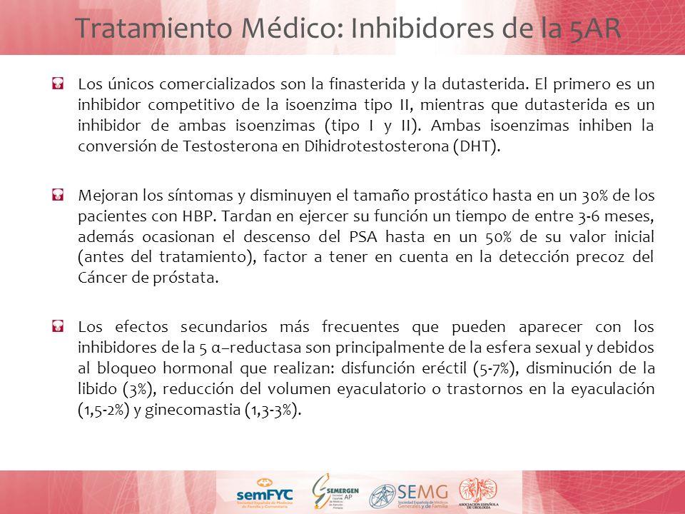 Tratamiento Médico: Inhibidores de la 5AR Los únicos comercializados son la finasterida y la dutasterida. El primero es un inhibidor competitivo de la