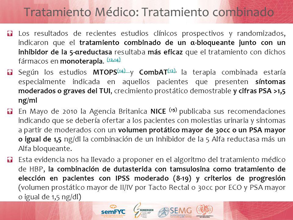 Tratamiento Médico: Tratamiento combinado Los resultados de recientes estudios clínicos prospectivos y randomizados, indicaron que el tratamiento comb