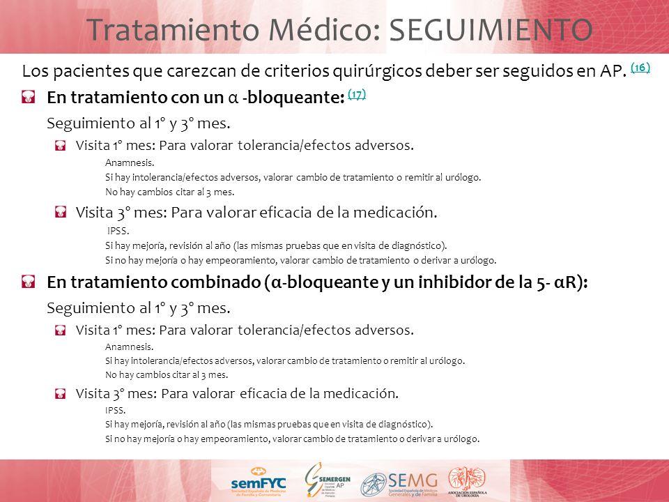 Los pacientes que carezcan de criterios quirúrgicos deber ser seguidos en AP. (16) (16) En tratamiento con un α -bloqueante: (17) (17) Seguimiento al