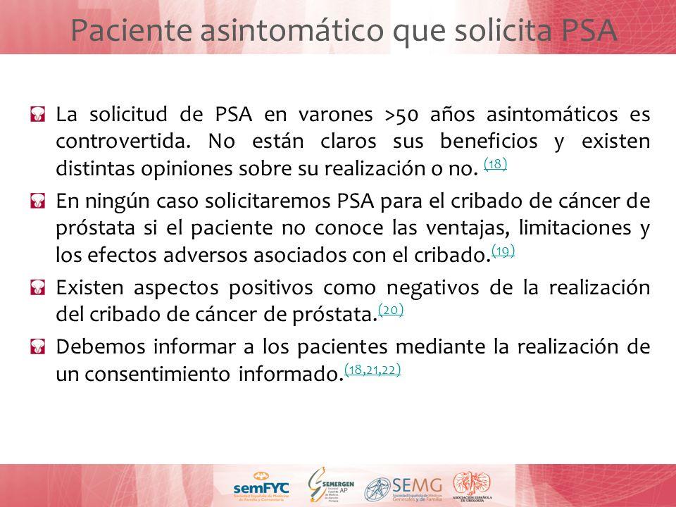 Paciente asintomático que solicita PSA La solicitud de PSA en varones >50 años asintomáticos es controvertida. No están claros sus beneficios y existe