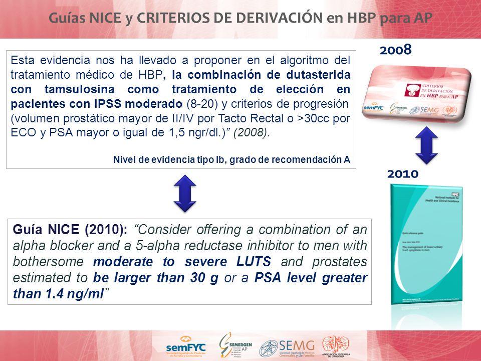 Guías NICE y CRITERIOS DE DERIVACIÓN en HBP para AP Esta evidencia nos ha llevado a proponer en el algoritmo del tratamiento médico de HBP, la combina