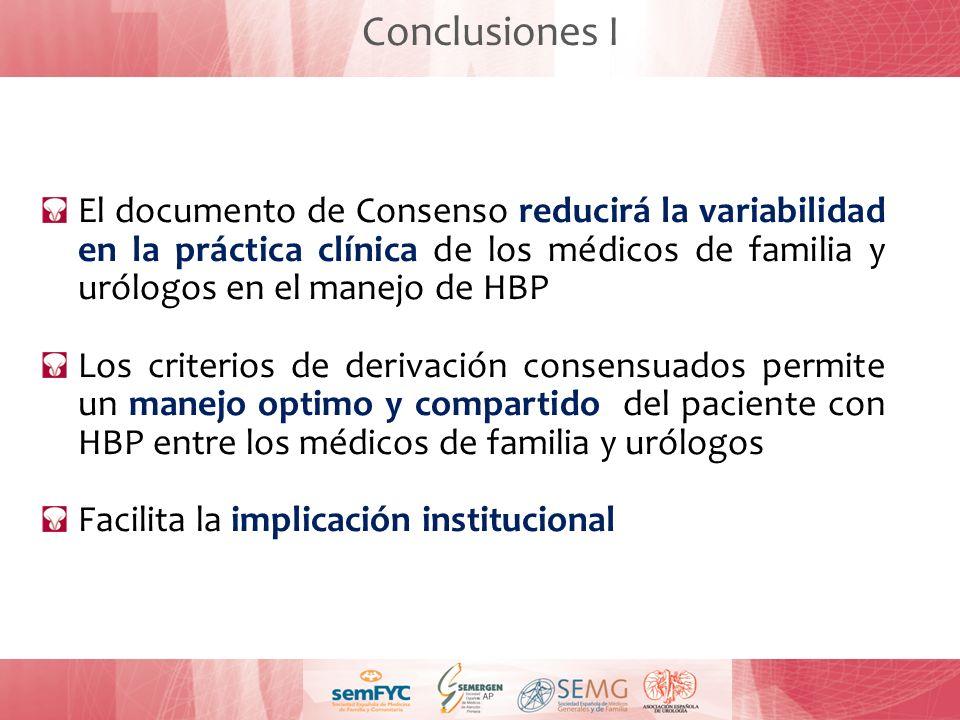 Conclusiones I El documento de Consenso reducirá la variabilidad en la práctica clínica de los médicos de familia y urólogos en el manejo de HBP Los c