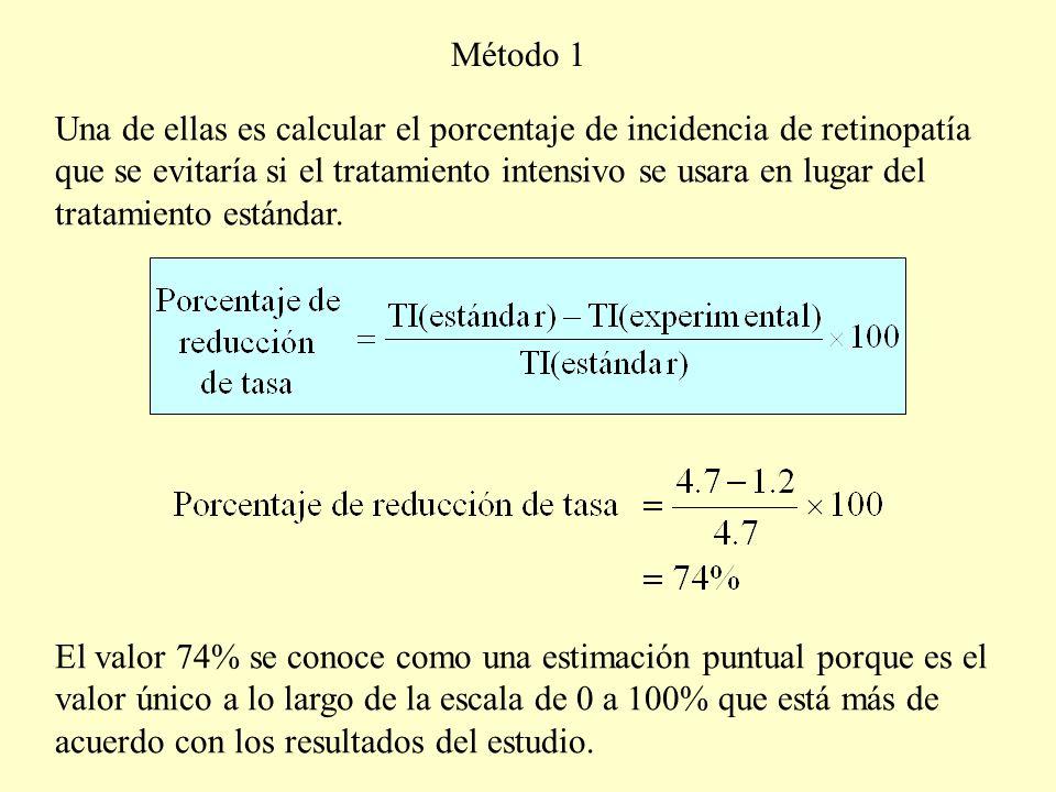Una de ellas es calcular el porcentaje de incidencia de retinopatía que se evitaría si el tratamiento intensivo se usara en lugar del tratamiento está