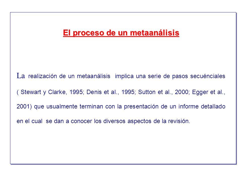 La realización de un metaanálisis implica una serie de pasos secuénciales ( Stewart y Clarke, 1995; Denis et al., 1995; Sutton et al., 2000; Egger et