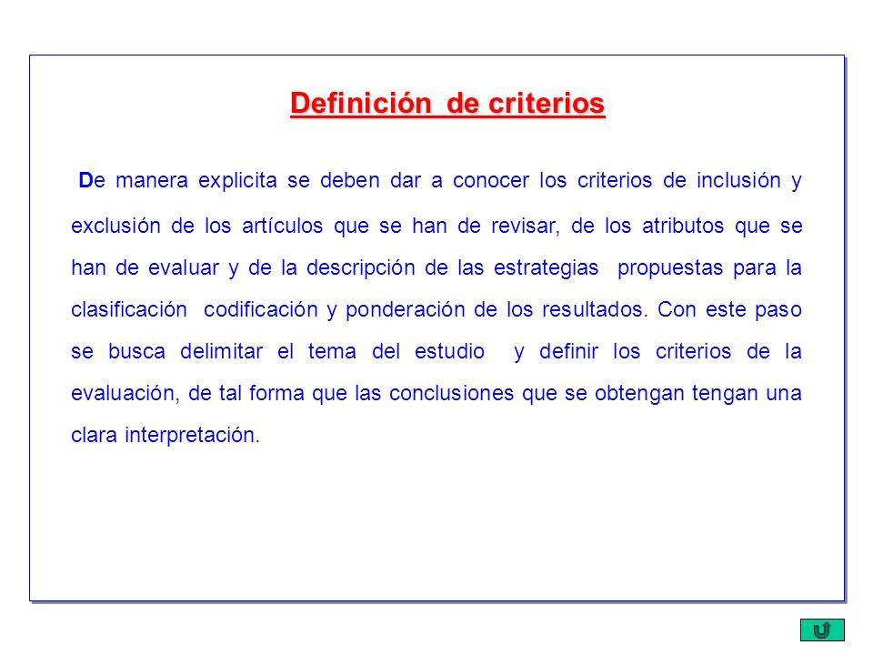 De manera explicita se deben dar a conocer los criterios de inclusión y exclusión de los artículos que se han de revisar, de los atributos que se han
