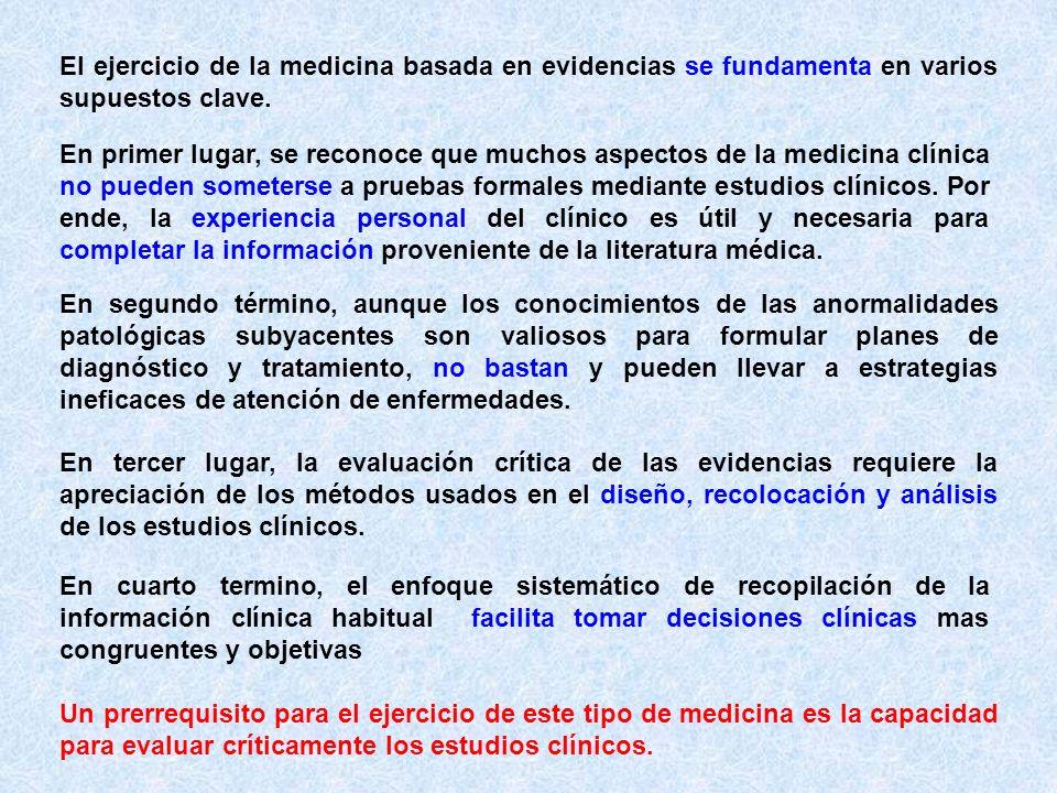 El ejercicio de la medicina basada en evidencias se fundamenta en varios supuestos clave. En primer lugar, se reconoce que muchos aspectos de la medic