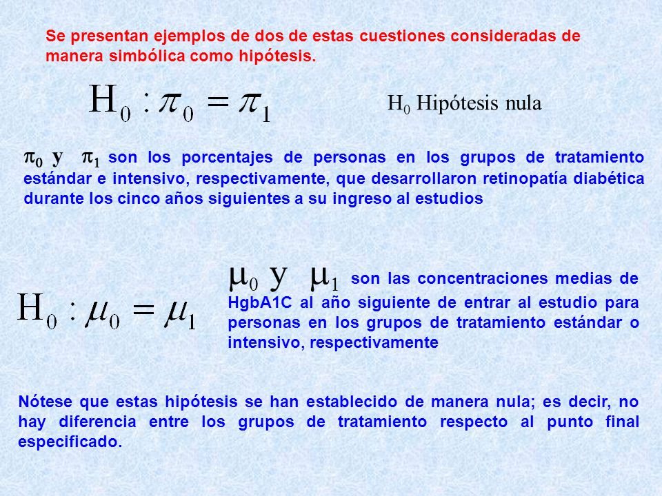 Se presentan ejemplos de dos de estas cuestiones consideradas de manera simbólica como hipótesis. H 0 Hipótesis nula y son los porcentajes de personas