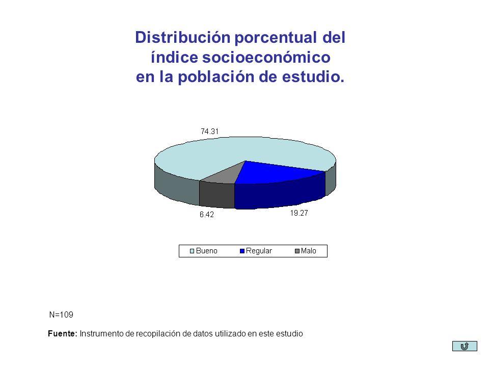 Distribución porcentual del índice socioeconómico en la población de estudio. Fuente: Instrumento de recopilación de datos utilizado en este estudio N