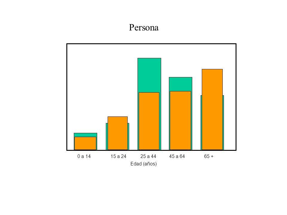 Persona 0 a 1415 a 2425 a 4445 a 6465 + Edad (años)