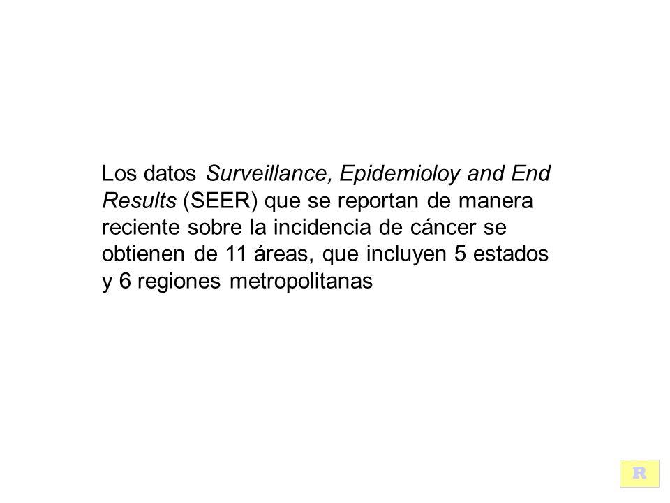 Los datos Surveillance, Epidemioloy and End Results (SEER) que se reportan de manera reciente sobre la incidencia de cáncer se obtienen de 11 áreas, que incluyen 5 estados y 6 regiones metropolitanas R